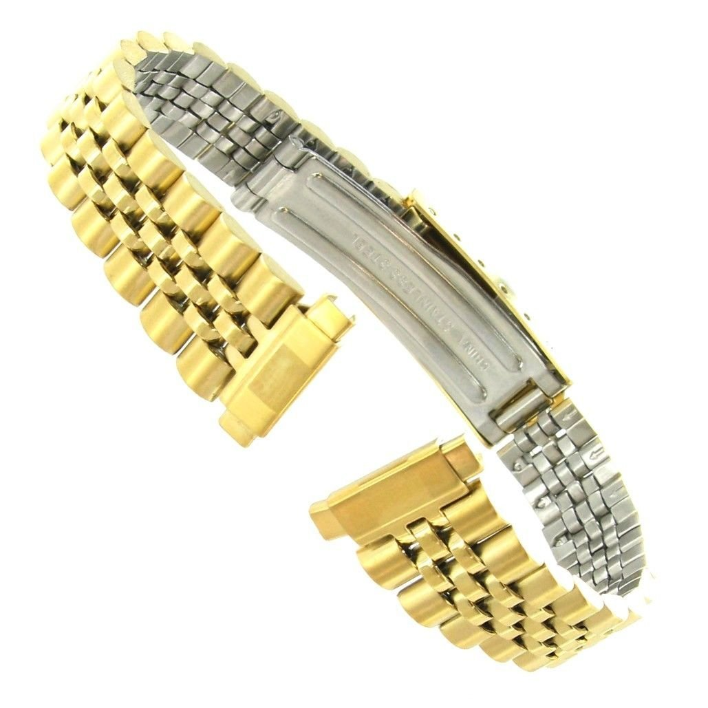 10-14mm T&C Gold Tone Stainless Steel Ladies Deployment Buckle Watch Band