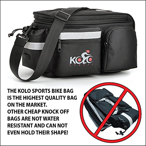 Kolo Sports Bike Pannier Bag | Durable & Waterproof Nylon With Extra Padded Foam Bottom & 3 Side Reflectors | Shoulder Strap Rack Rear Trunk Tote Bag | Strong Velcro, Zipper Pockets & Bottle Case by Kolo Sports (Image #2)