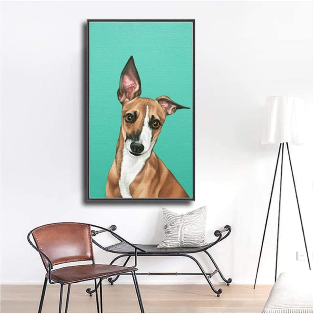 Rjunjie Impresiones en Lienzo Pintura de Animales Galgos Cuadros de Pared para Sala de Estar Impresiones de Arte para Perros Carteles (60x90 cm sin Marco)