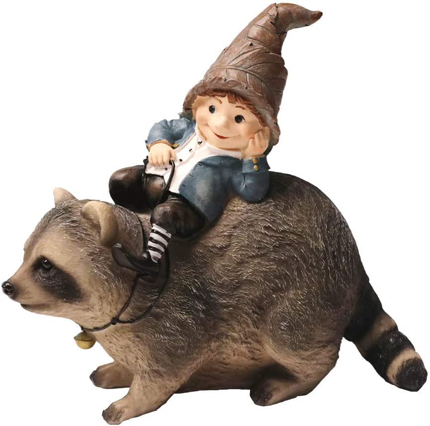 Nature's Rhythm Garden Gnome and Raccoon Garden Decor Outdoor Patio Lawn Yard Decoration