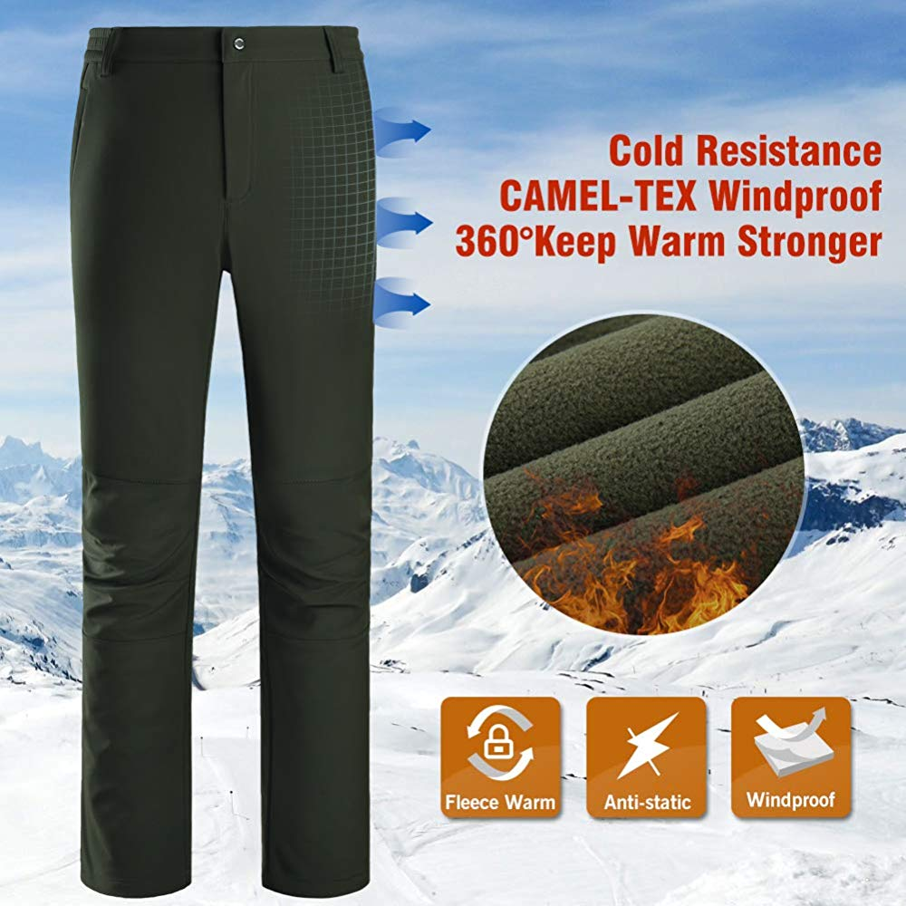 CAMEL CROWN Womens Snow Ski Fleece Pants for Spring and Fall Outdoor Waterproof Hiking Softshell Pants with Elastic Waist