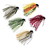 #6: 5 Pcs 7g /10g (1/4oz) /( 3/8oz) THKFISH Mixed Colour Fly Rubber Swim Bass Jig Fishing Lures