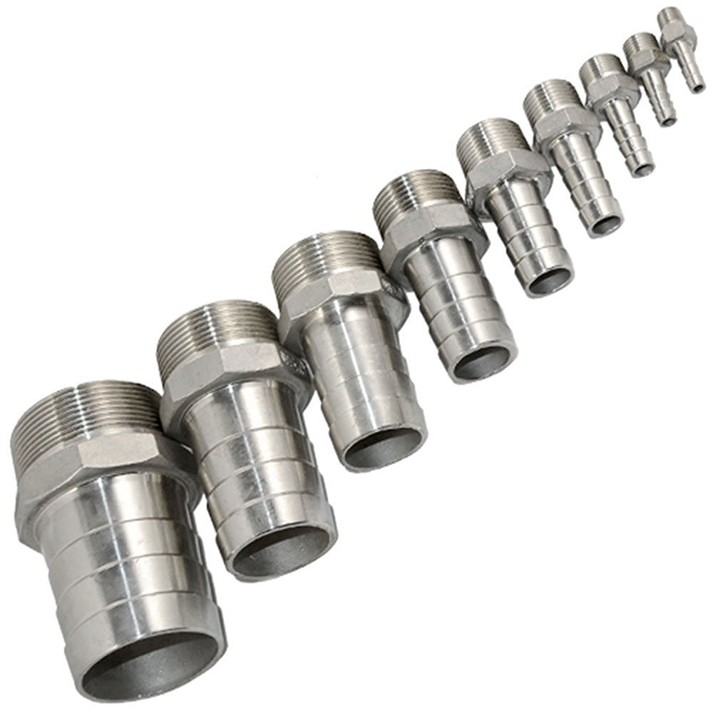 Stainless Steel 304 NPT LOZOME 3//8 Male Thread to OD 15mm Barb Hose Pipe Fitting Tail Connector