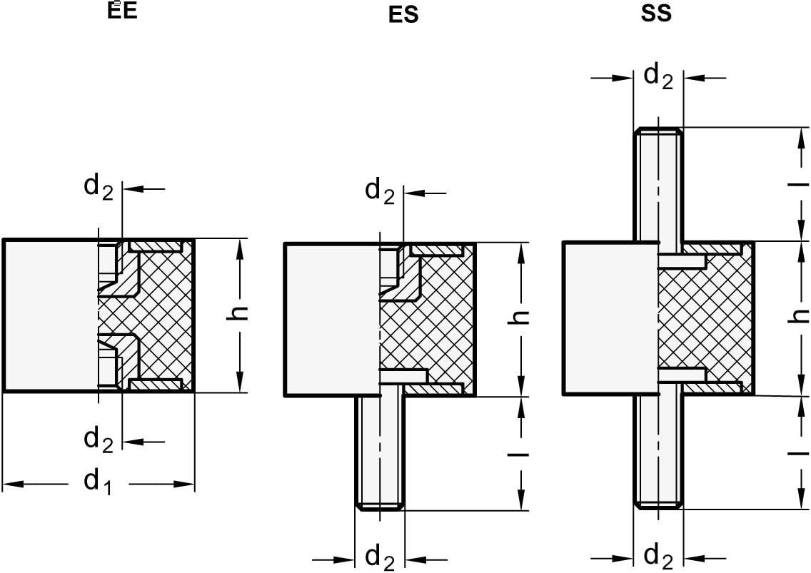 Gewinde: M8 Durchmesser: 30mm schwarz Ganter Normelemente GN 351-30-30-M8-EE-55 351-30-30-M8-EE-55-Gummipuffer 10 St/ück
