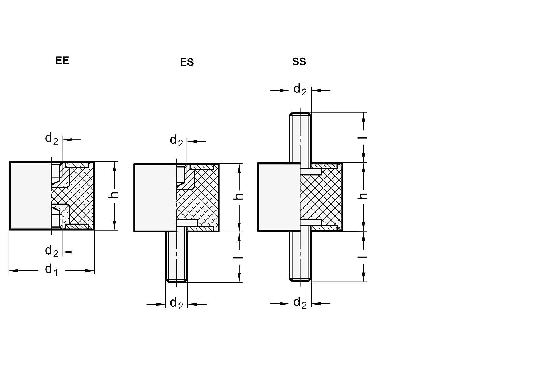 10 St/ück Gewinde: M8; Durchmesser: 30mm schwarz Ganter Normelemente GN 351-30-30-M8-SS-55 351-30-30-M8-SS-55-Gummipuffer