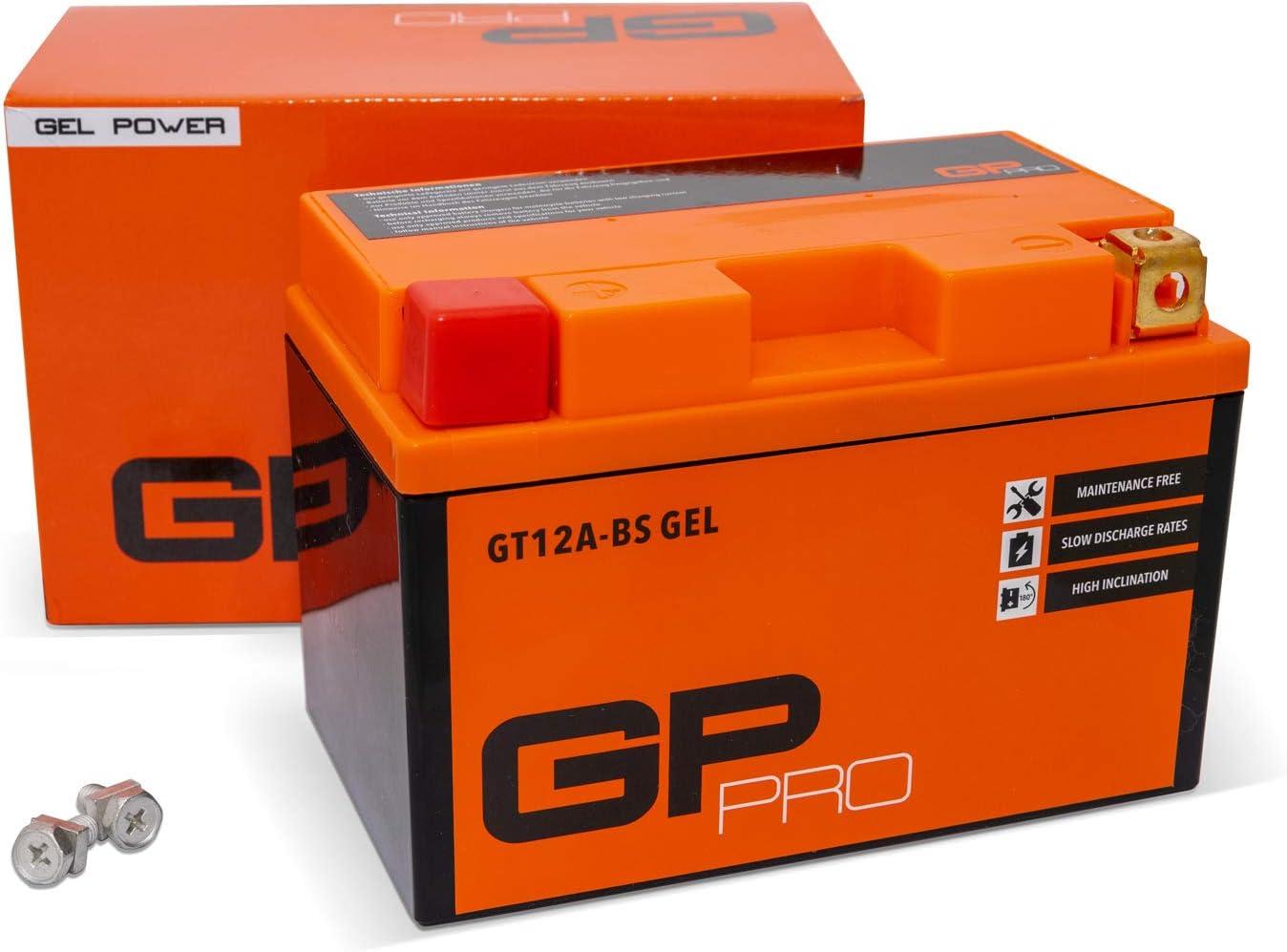 GP-PRO GT12A-BS 12V 10Ah GEL Batería de arranque (compatible con YT12A-BS / YTX12A-BS) (Sin necesidad de mantenimiento/Sellado) Moto Acumulador