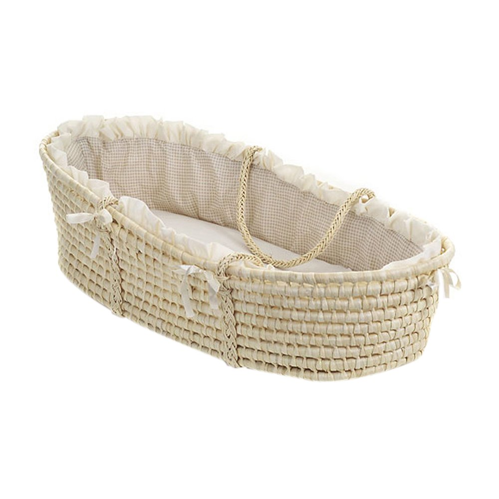 Badger Basket Natural Moses Basket with Gingham Bedding Badger Basket Co 1402-00892
