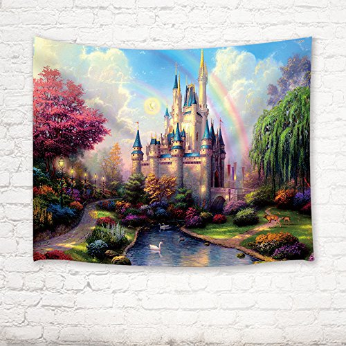 Fairy Tapestry (Teen Girls Collection Tapestry By JAWO the Fairy Tale Princess Castle in Fantasy Forest Landscape Artwork Print Wall Art Hanging for Bedroom Living Room Dorm 80X60Inches Wall Blankets)