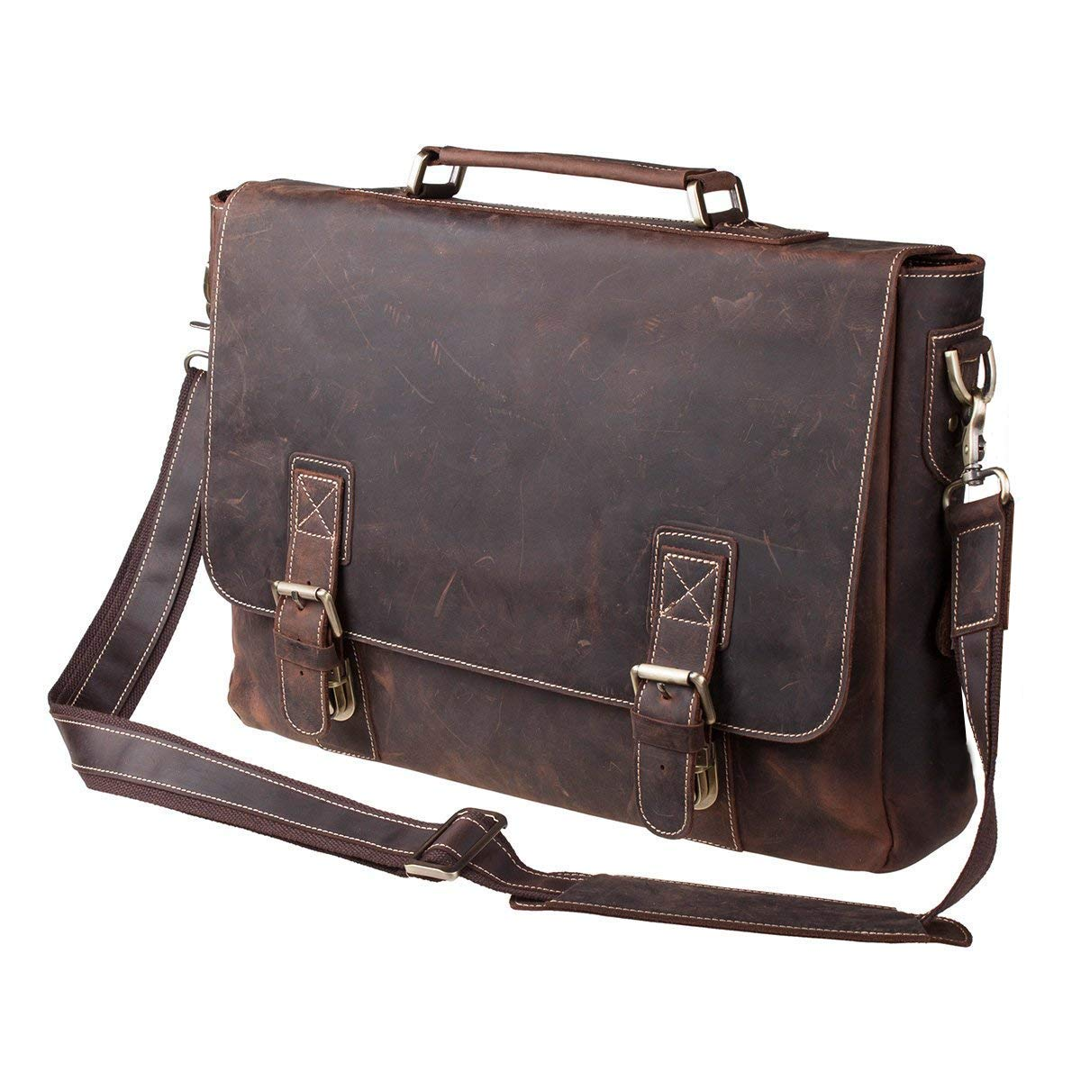 "S-ZONE Handmade Vintage Crazy Horse Leather 15.6"" Laptop Briefcase Messenger Bag Shoulder Satchel Bag"