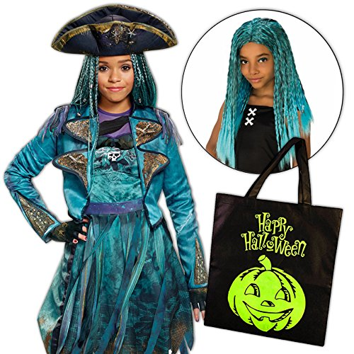 Uma Costume Descendants 2 Disney Girls Deluxe Isle with Wig and Treat Bag - (Goody Two Shoes Costume)