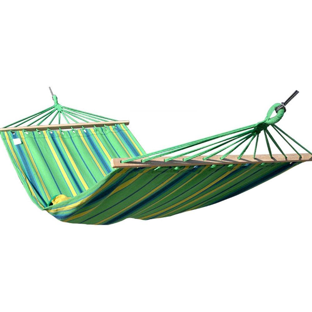 MUTANG 屋外ハンモックキャンプシングル防止ロールオーバーハンモック寮ファミリー屋内スイングハンモック多色オプション多目的 B01HG76NAK Green stripes Green stripes
