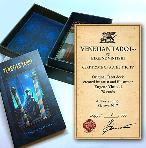 Venetian Tarot Cards Deck. Unique Handmade Illustrated Tarot. Stunning, Mystic Divination Cards for Tarot Reading inspired by beautiful history of Venetian Carnival selling by author Eugene Vinitski. Authors Card Deck