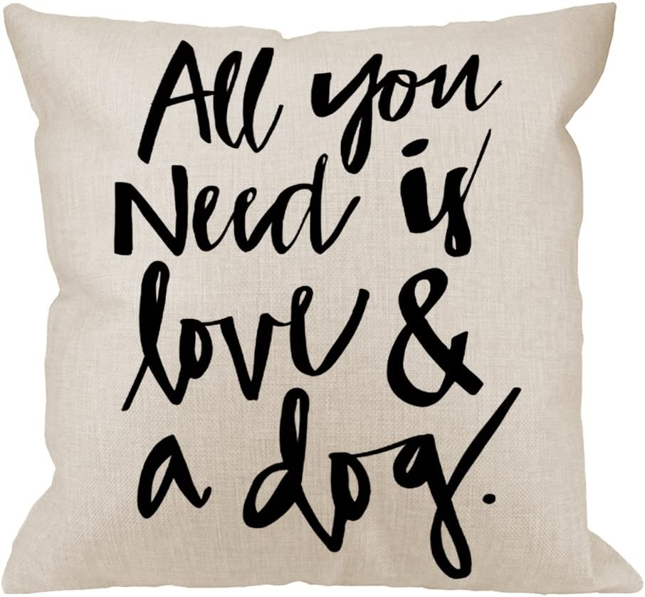 HGOD DESIGNS Throw Pillow Case Dog All You Need is Love and A Dog Lover Cotton Linen Square Cushion Cover Standard Pillowcase for Men Women Home Decorative Sofa Bedroom Livingroom 18 x 18 inch