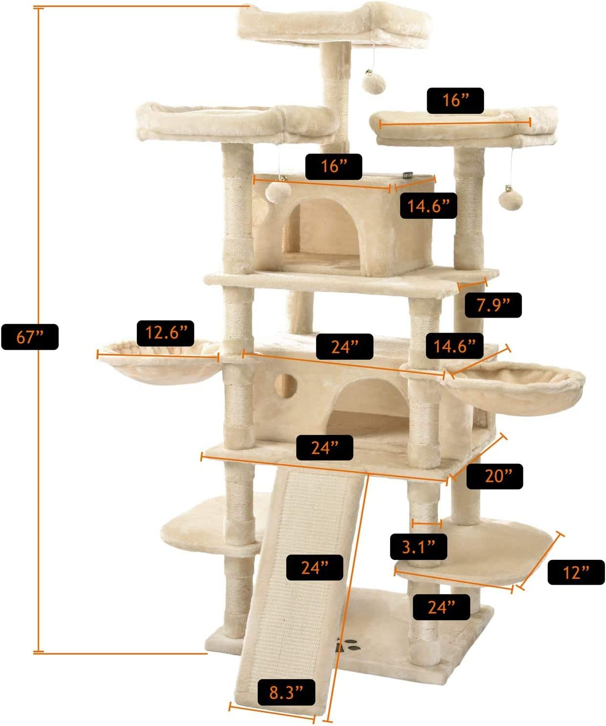 Amolife 68 Inches Multi-Level Large Cat Tree for Large Cats Big Cat Tower with Cat Condo Cozy Plush Cat Perches Sisal Scratching Posts and Hammocks Cat Activity Center Play House