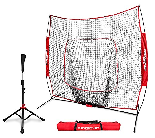 4 Way Youth Pitchers Rubber - PowerNet Baseball Softball Practice Net 7x7 with Deluxe Tee (Red) | Practice Hitting, Pitching, Batting, Fielding | Portable, Backstop, Training Aid, Large Mouth, Bow Frame | Training Equipment Bundle