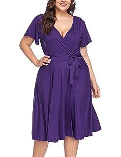 c8c5a002917 PARTY LADY Women s V-Neckline Stretchy Casual Midi Floral Dress Plus Size(L-