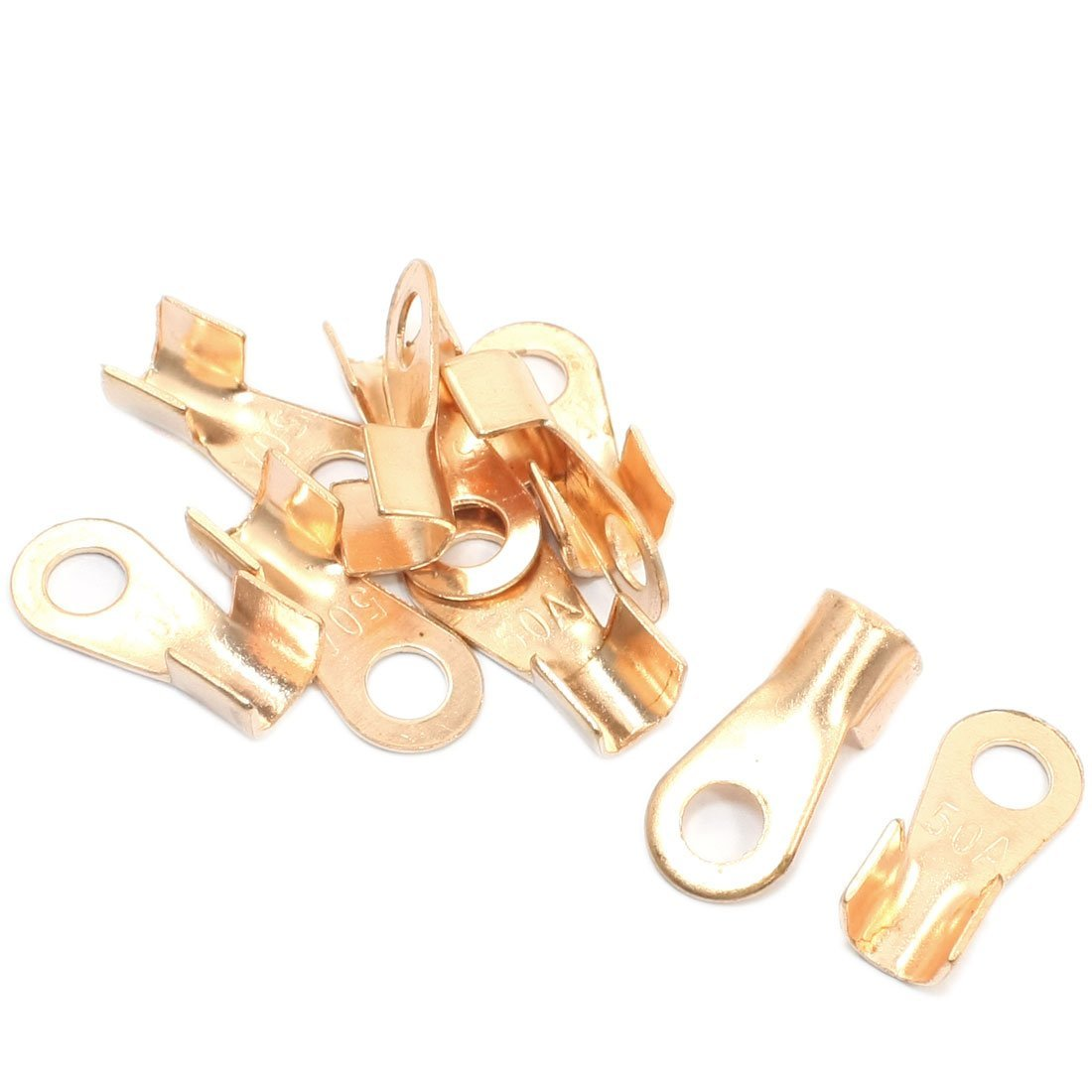 10pcs 50A Ring Tongue Cable Wiring Welding Copper Connector Terminal