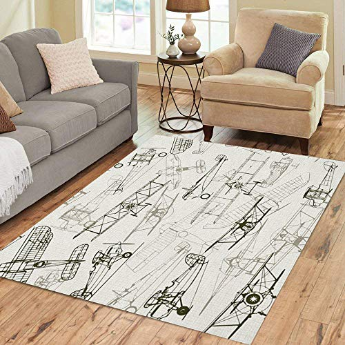 Semtomn Area Rug 5' X 7' Vintage Airplane Composition of Graph Can Be Turned Off Home Decor Collection Floor Rugs Carpet for Living Room Bedroom Dining ()