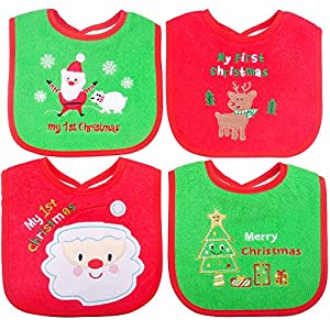 Christmas Baby Bibs,Cotton Bibs,First Xmas Gift for Baby Newborn Toddler,4Pcs
