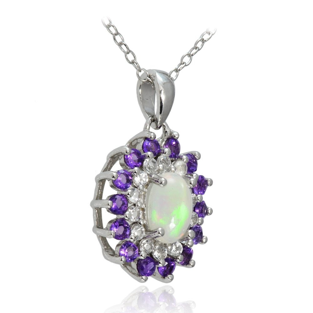 GemStar USA Sterling Silver Ethiopian Opal, African Amethyst White Topaz Oval Flower Necklace
