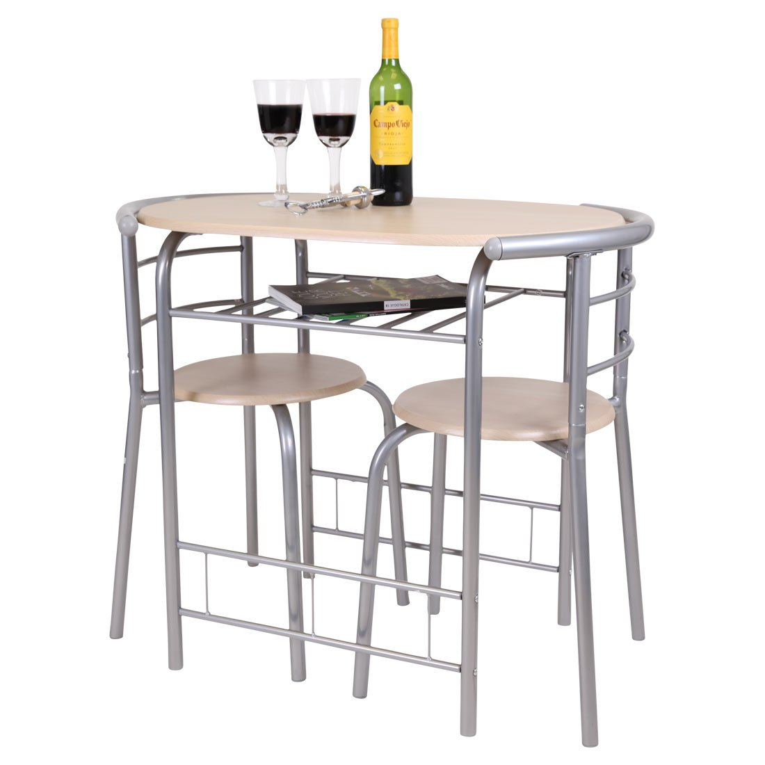 CHICAGO 3 PIECE DINING TABLE AND 2 CHAIR SET. BREAKFAST, KITCHEN, BISTRO, BAR (Light Oak) More4Homes