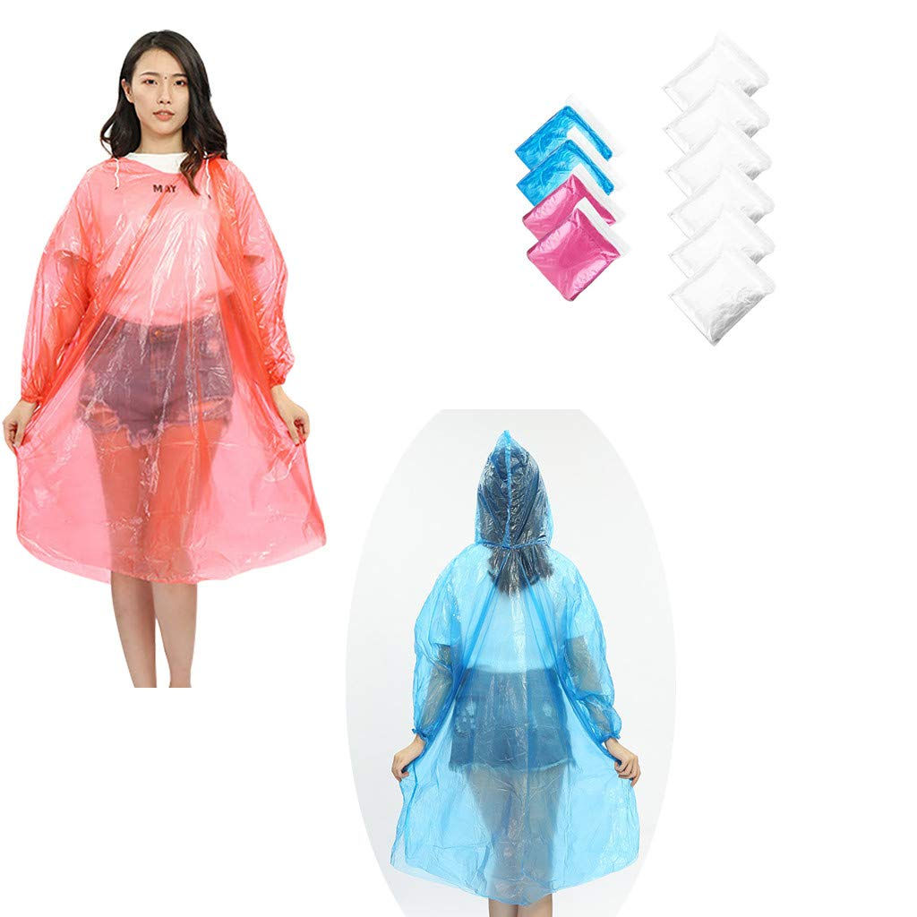 Lot of 10 Emergency Hooded Poncho One size Fits All Clear Color /& Reusable