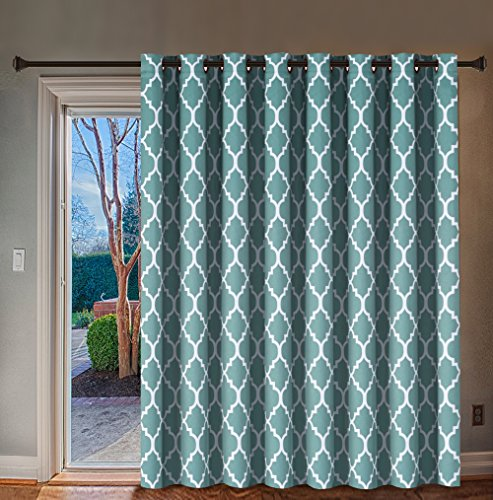 H.VERSAILTEX Thermal Insulated Room Divider/Quatrefoil Pattern Blackout Patio Curtains,Antique Grommet Sliding Door Curtain for Large Window, W100 x L84 inch-Smoke Blue -