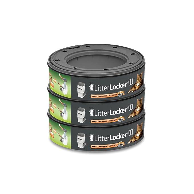 LitterLocker Pack de 3 Recharges Rondes de Film en Plastique pour Chat Vert 17 x 17 x 15 cm