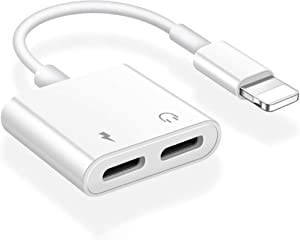 [Apple MFi Certified] iPhone Headphones Adapter & Splitter,2 in 1 Dual Lightning Charger Cable Aux Adapter Compatible with iPhone 11/XS/XR/X/8/7/6 iPad Converter Music+Charging+Call+Volume Control