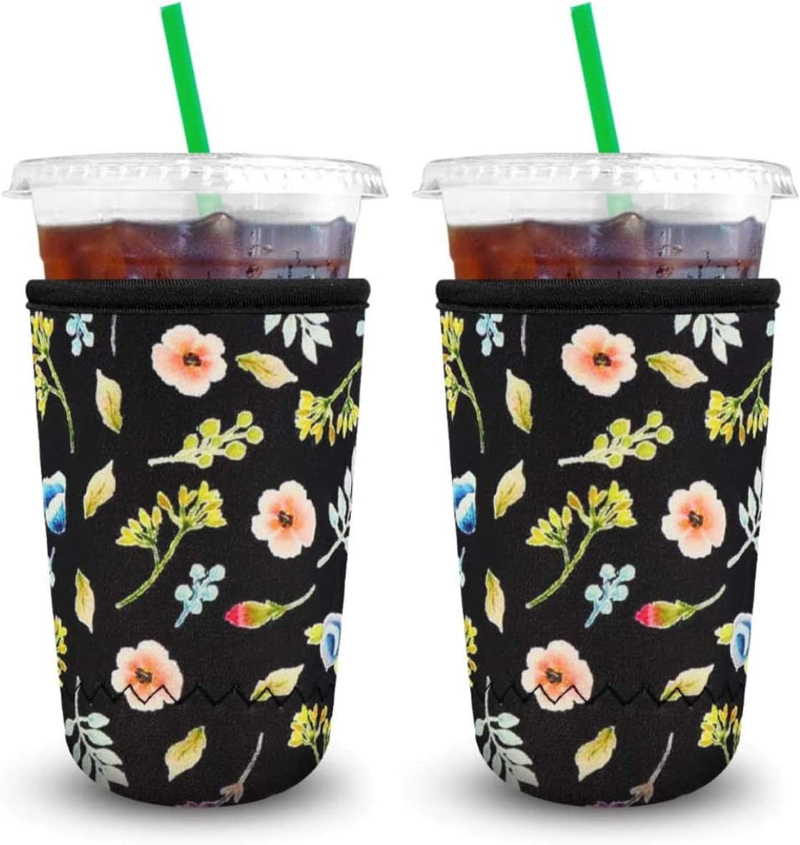 XccMe Reusable Iced Coffee Sleeves Neoprene Insulator Cup Cover for Cold Drinks,Beverages Holder,Ideal for Dunkin Donuts, Starbucks Coffee, McDonalds (Black Flower Large 32oz)