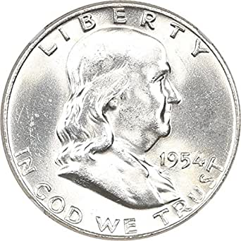 1954 d franklin halves half dollar ms64 ngc fbl at amazon s 1953 1963 Ben Franklin Half Dollar individual coins