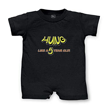 6a1d29d310 Hung Like 5 Year Old Short Sleeve Taped Neck Boys-Girls Cotton Infant  Romper Jersey