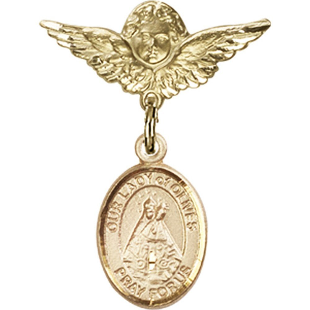 14kt Yellow Gold Baby Badge with Our Lady of Olives Charm and Angel w/Wings Badge Pin 1 X 3/4 inches