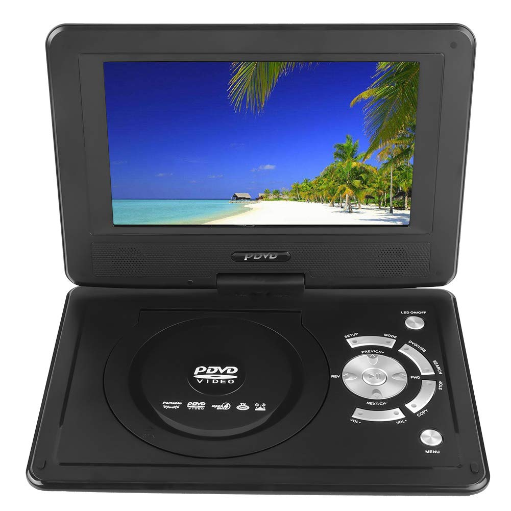 fosa 9'' Portable DVD Player, Mini Car CD TV/Game Function Swivel 16:9 Screen Large Memory with Rechargeable Battery for Car/Home/Outdoor(Black)
