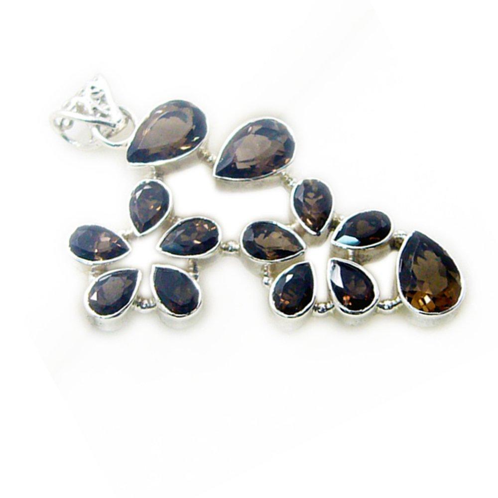 55Carat Genuine Smoky Quartz Silver Pendant for Women Charms Pear Shape Sterling Vintage Necklace Flower Style