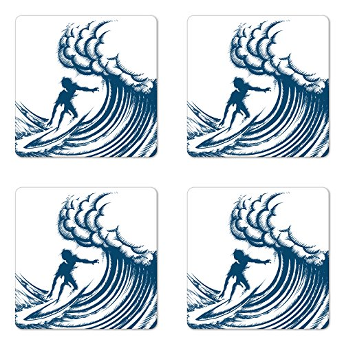 Ambesonne Surfing Coaster Set of Four, Abstract Silhouette of a Surfer Riding a Big Wave Hand Drawn Style Coastal Art, Square Hardboard Gloss Coasters for Drinks, Blue and White