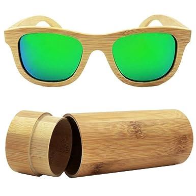 iSunHot 1-Pack Gafas de Sol de Madera de Bambú con Verde ...