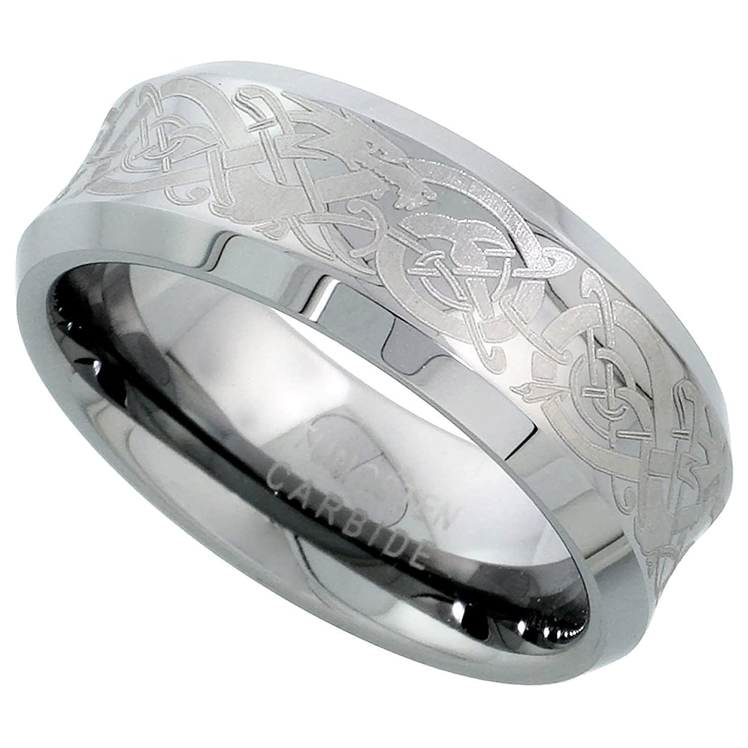 8mm Tungsten 900 TM Wedding Ring Concave Etched Celtic Dragon