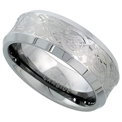 8mm tungsten 900 wedding ring concave etched celtic dragon pattern beveled edges comfort fit