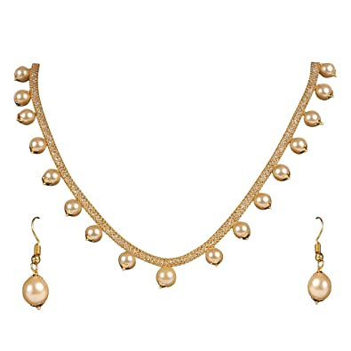 Buy Beunew Ds Gold Pearl Necklace Set With Ad Chain And Earrings