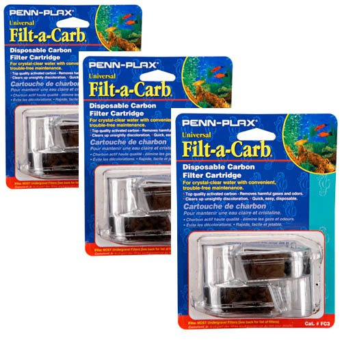 Penn-Plax Filt-a-Carb Universal Carbon Undergravel Filter Cartridge, 6-Pack