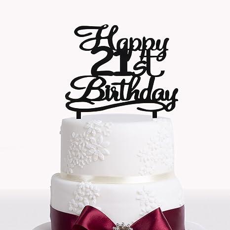 Peachy Happy 21St Birthday Cake Topper Black Acrylic Cake Topper Number Funny Birthday Cards Online Barepcheapnameinfo