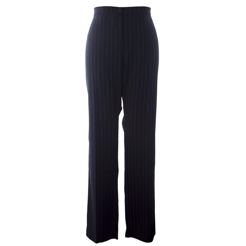 Marina Rinaldi Women's Rapido Stripe High Waist Trousers 22W / 31 Navy