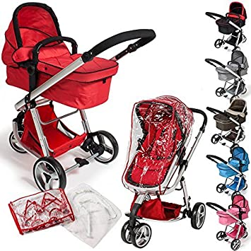 TecTake 3 en 1 Sillas de paseo coches carritos para bebes convertible - disponible en diferentes colores - (Rojo | no. 400830): Amazon.es: Hogar