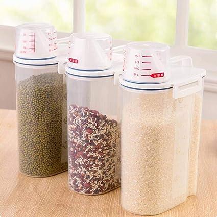 Fangfeen A Prueba de Humedad del Cereal dispensador de Caja de Almacenamiento Caja de Cocina Alimentos harina de arroz Contenedor con la medidor de la Copa: ...