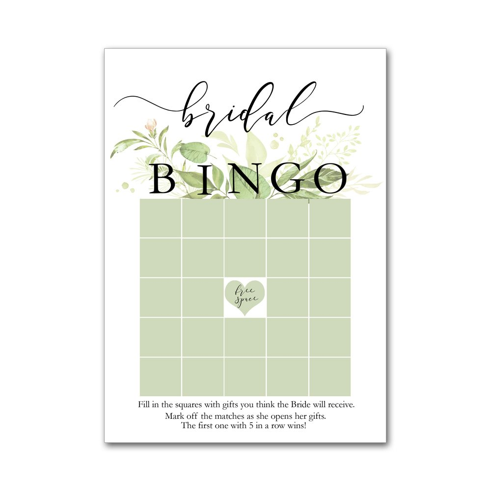 Bingo Game Cards for Bridal Wedding Showers with Watercolor Wild Flowers Leaves Leaf Frame BBG8015