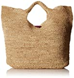 Physician Endorsed Women's Tobago Raffia Large Tote Bag, Natural/Purple, One Size