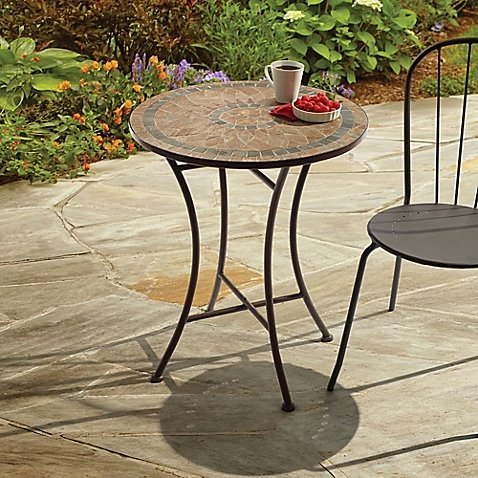 Home7 Mosaic Stone Outdoor Bistro Table. (Tile Stone Outdoor)