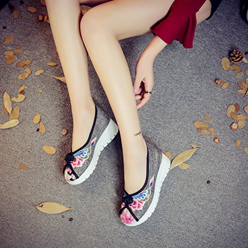 Broderie Basse Wedge Femmes Noir Fait Chaussures Sneaker Icegrey Main Compensé Bateau Baskets Ballerine Fluer Aq4wwHg
