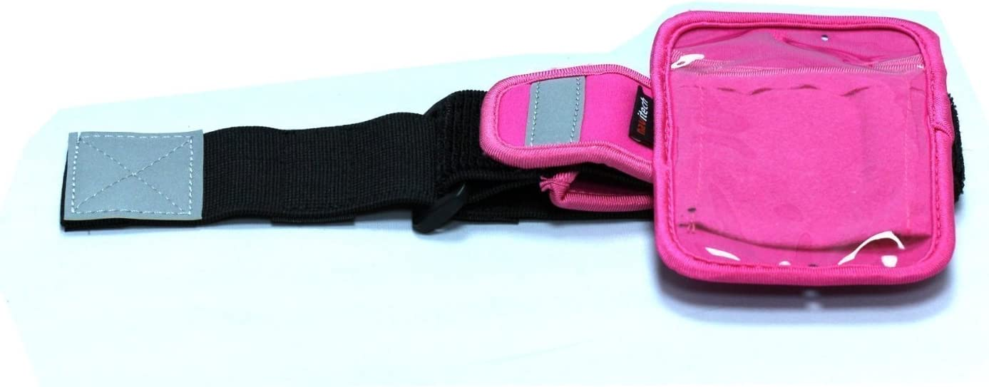 Navitech Pink MP3/MP4 Sports Running Armband Compatible with The Apple iPod Shuffle